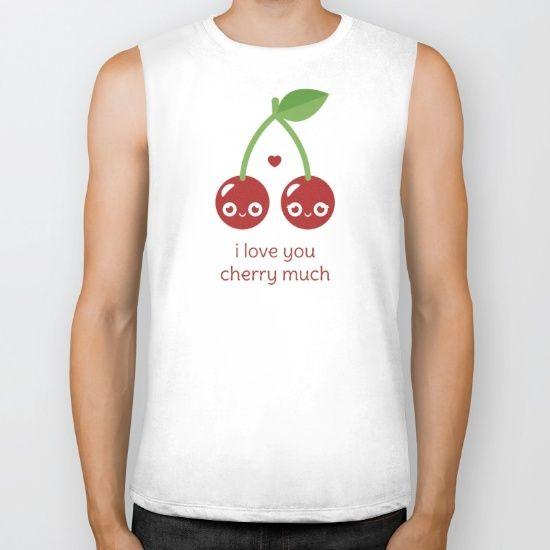 I Love You Cherry Much Biker Tank - pun, puns, cherry, cherries, fruit, food, funny, cute love, relationship, tasteful, tasty, relationships, valentine, valentines, vector, art, illustration, drawing, design