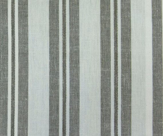 Linen Brown Stripes Vintage Fabric By The Yard Curtain Fabric