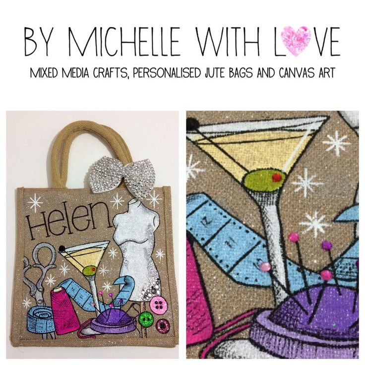 Hand painted personalised jute bag! By Michelle with Love! Xxx