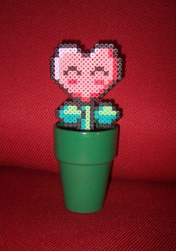 Nintendo Super Mario Valentine Heart Flower Perler Bead Sprite