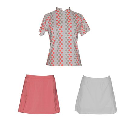 Our lovely new Sassy Coral printed top with either the coral or white skort. Save by purchasing as a set.  The classic style women's golf shirt has a zip up front, short sleeves, and oriental style collar.  The matching skort has pleats on both sides, and handy pockets to stash your tees and golf balls. The built in shorts and made from the same comfortable nylon – elastine.  Limited numbers so purchase yours today.