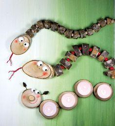 Herbstliches Basteln mit Holz und Naturmaterialien