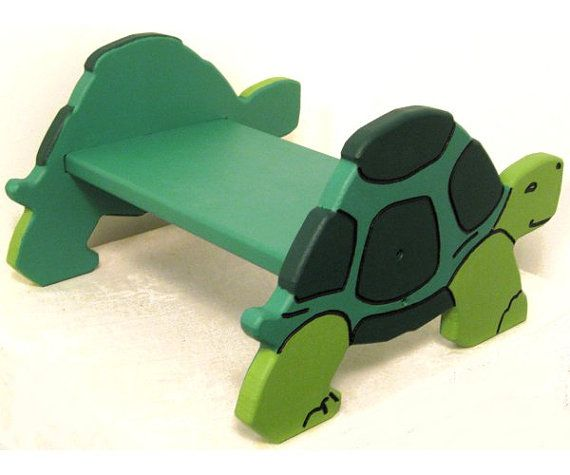 So cute!!! Handmade, personalized Wooden Turtle Step Stool / Chair by NominiBayWoodworks on Etsy