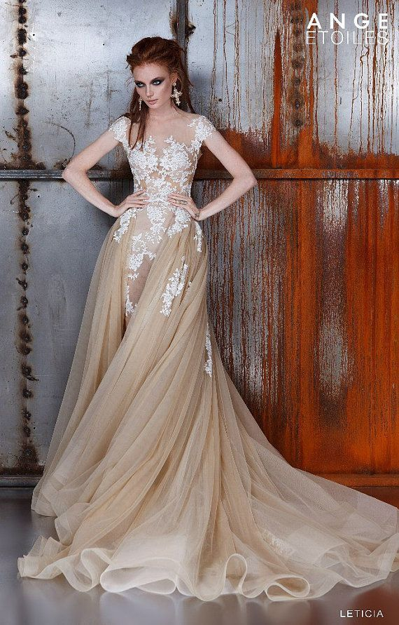 Best 20 champagne wedding dresses ideas on pinterest for Brown lace wedding dress