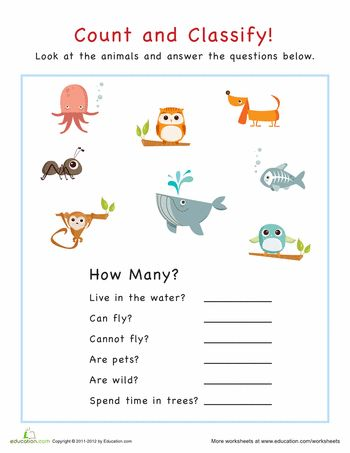 count and classify animals worksheets school and speech therapy. Black Bedroom Furniture Sets. Home Design Ideas