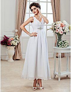 A-line V-neck Ankle-length Chiffon Wedding Dress – USD $ 89.99