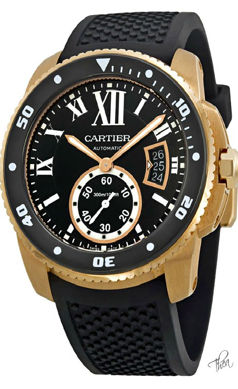 Cartier ● Calibre de Diver Black Dial Men's Watch  $28,100.00 ~ Tнεα