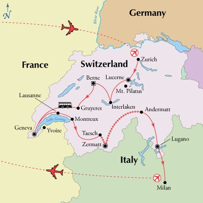 10 Day Switzerland Tour Package from Zurich to Milan. Switzerland sightseeing highlights including Lucerne, Interlaken, Berne, Geneva, Zermatt, and Lugano.