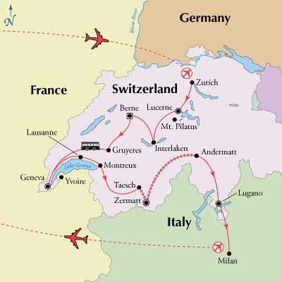 10 Day Switzerland Tour Package from Zurich to Milan. Switzerland sightseeing highlights including Lucerne, Interlaken, Berne, Geneva, Zermatt, and Lugano.