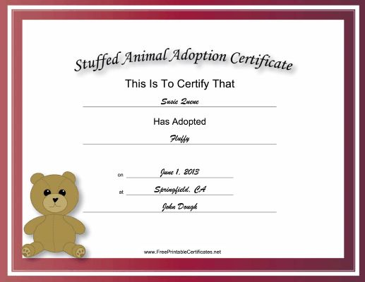 Made to look academic and official, this free, printable, stuffed animal adoption certificate has a striped, red border and a picture of a teddy bear. Free to download and print
