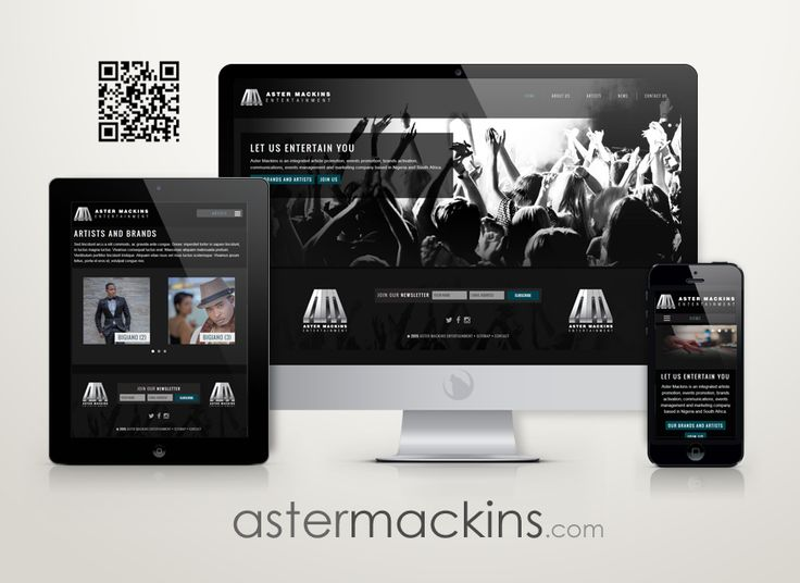 Aster Mackins Entertainment with their freshly updated logo and website design.  #webdesign #portfolio #mobilewebstie #entertainment.