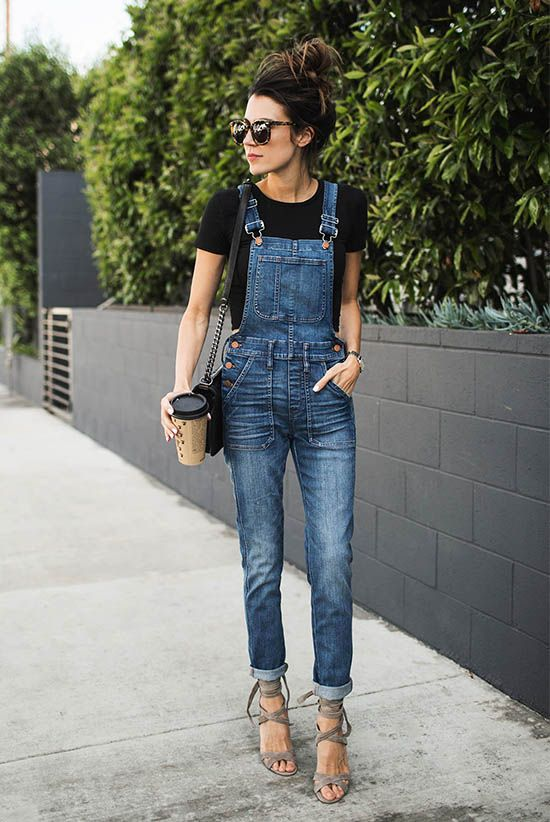 spring outfit, summer outfit, casual outfit, street chic style - black t-shirt, denim overalls, grey lace up sandals, black shoulder bag, brown sunglasses