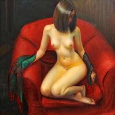 Nude Woman Seated On Red Chair
