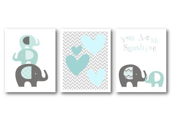 Stampe d'arte di scuola materna di elefanti  elefanti vivaio