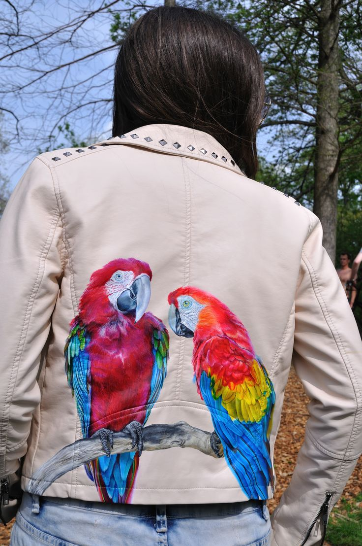 Parrot Jacket- Hand painted leather jacket By Melissa Alt