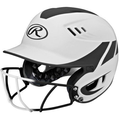 Rawlings Velo Junior 2-Tone Home Softball Helmet with Mask, Black