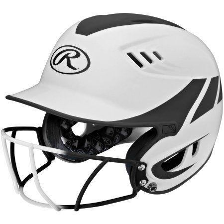 Rawlings Velo Junior 2-Tone Home Softball Helmet with Mask, Black
