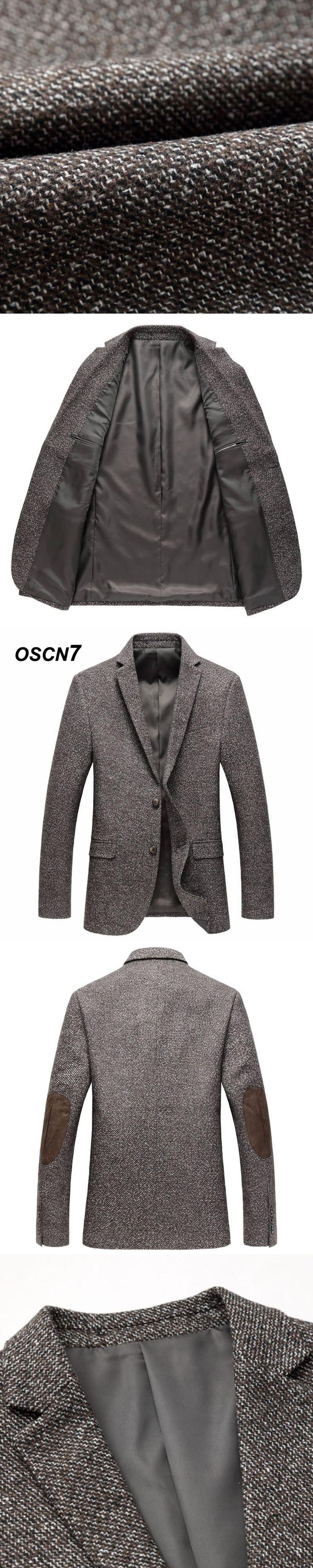 OSCN7 Tweed Blazer Men Patchwork Brown 2018 New Blazer Masculino Slim Fit Leisure Plus Size Mens Blazer Jacket