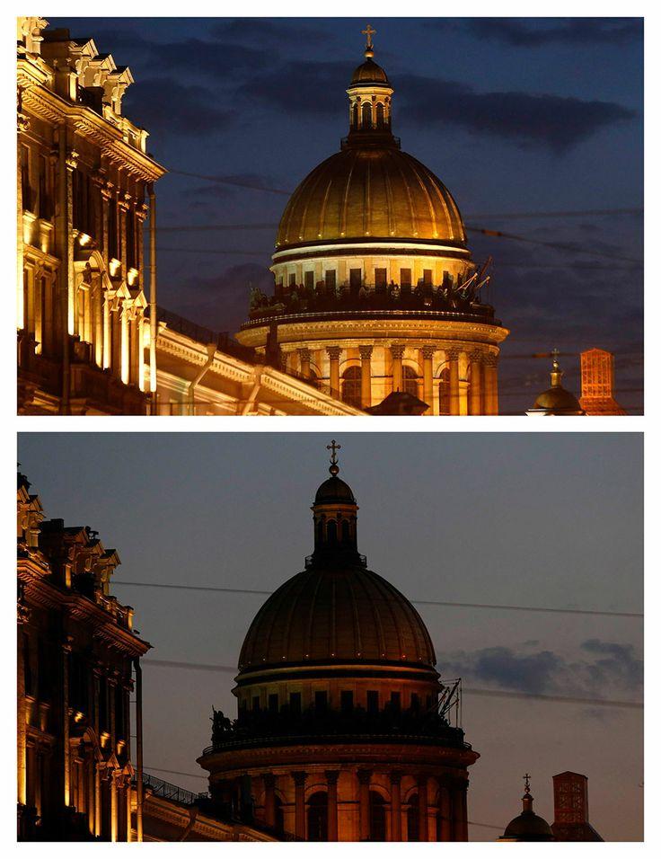 La Catedral de San Isaac, en San Petersburgo, Rusia. Apagón mundial en la Hora del Planeta.