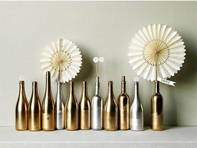 Gold & silver bottles with pinwheels