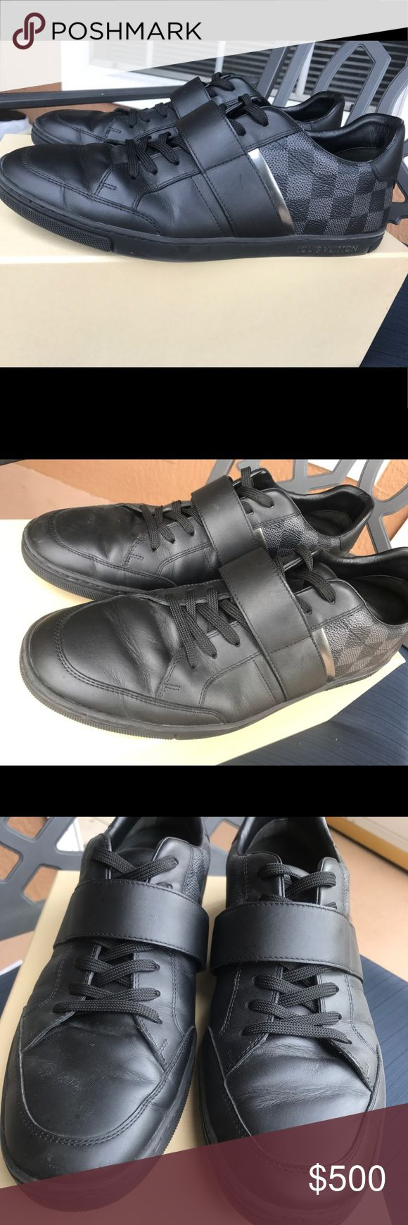 Authentic Louis Vuitton Men's Sneakers Pair of Authentic Louis Vuitton men's sneakers in Dark Gray Damier Canvas. Slight wear on them, still amazing quality. Includes the original box it was purchased in, shoe dust bags, original Louis Vuitton replacement laces that came with the purchase. Size 9 Louis Vuitton Shoes Sneakers