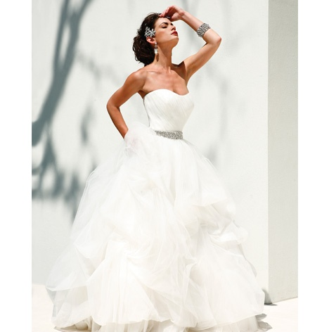 Photo: Larry Fagala ~ Gown: Anne Barge; Belt: Anne Bowen both at Belle Mariée Bridal ~ Hair brooch: Brickhouse Bridal #weddingdress #weddinggown #weddingsinhouston