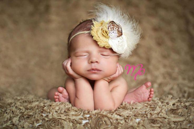 Vintage-baby headband...baby girl headband..newborn..headband.. photography props...Vintage Feather caramel and ivory headband. $18.00, via Etsy.