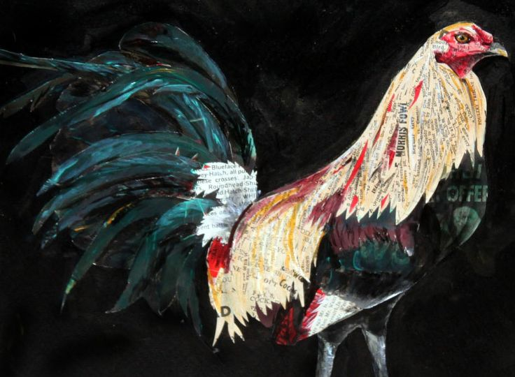 Gamefowl art created with old Gamefowl magazines Collage art, mixed media