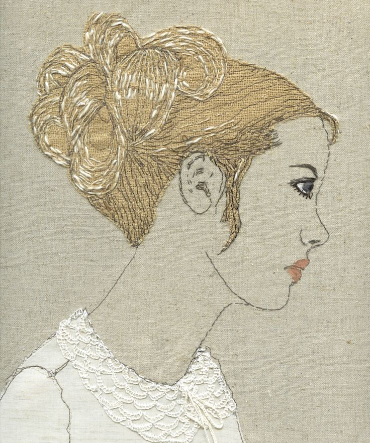 Textile art portraits using thread and embroidery