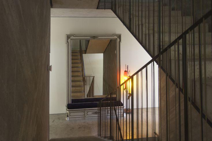 Vintage huge wall mirror. Striking stairs. Casa do Conto | Porto |