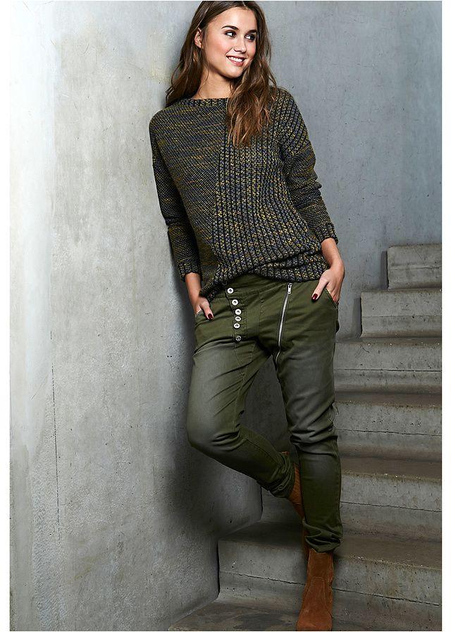 Spodnie ze stretchem z asymetryczną plisą guzikową • 129.99 zł • bonprix