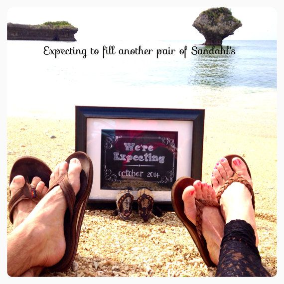 We're Expecting/ Pregnancy Announcement Chalkboard Prints on Beach