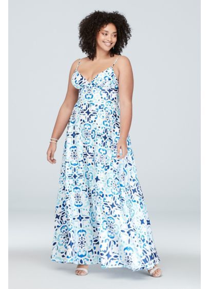 818f3d9ac126 ... prom dresses at David's Bridal! Mosaic Deep V-Neck Plus Size Gown with  Low Back A21824W