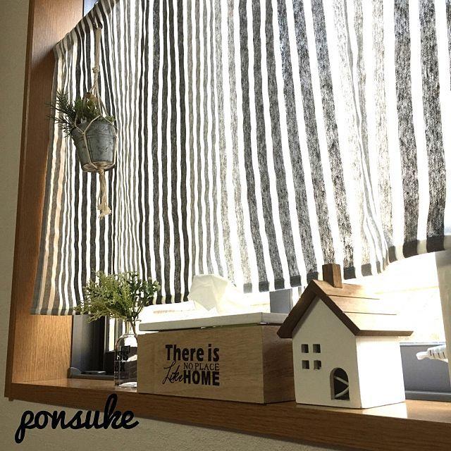 即納可 リネン調 カフェカーテン の商品情報 Roomclip ルームクリップ カフェカーテン カーテン レース カーテン