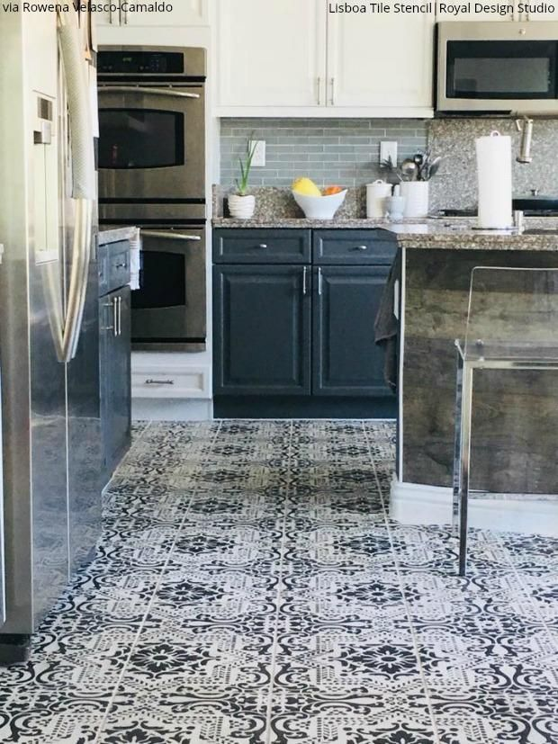 Insanely Gorgeous Kitchens With Tile Floor Stencils In 2020 Kitchen Flooring Diy Kitchen Flooring Stenciled Floor
