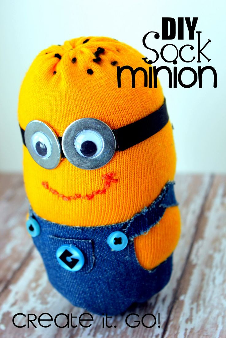 DIY Sock Minion Tutorial on how to make a minion from a yellow sock. Silhouette challenge. Create it. Go! despicable me
