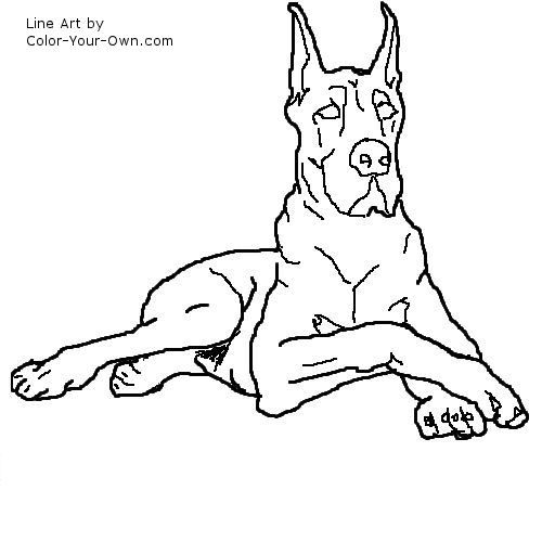 Dog great dane line art cute cleaver idea and funny for Great dane coloring pages