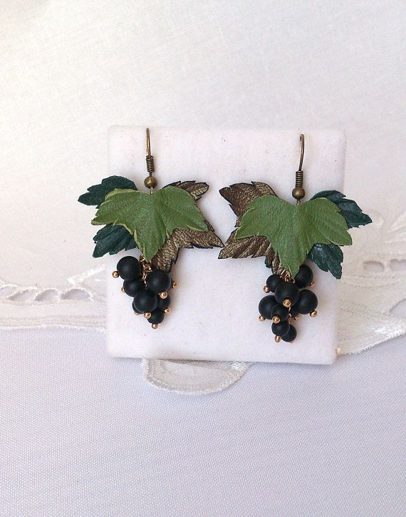 Holiday jewelry natural leather berry earrings gifts for