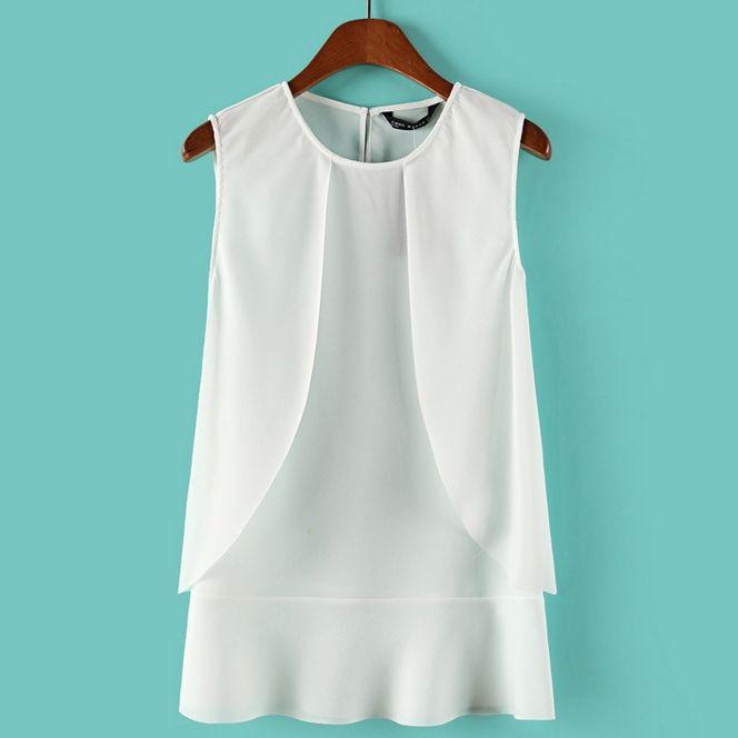 Round Collar Summer Elegant Pleated Tank Tops For Women