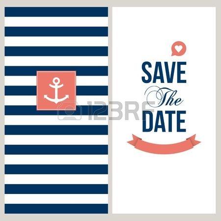 Hochzeit Einladungskarte Save the date, Seemann Thema Text und Farbe bearbeitet Lizenzfreie Bilder - 20750944