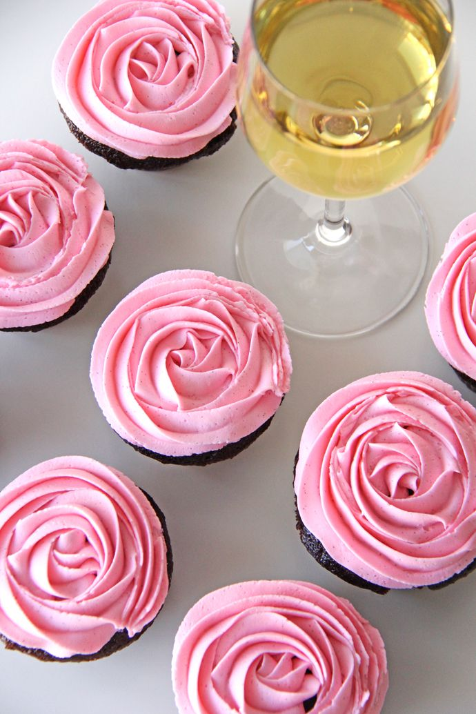 Chocolate Cupcakes with a Chardonnay Buttercream Frosting, and just in time for Valentine's Day. #recipe