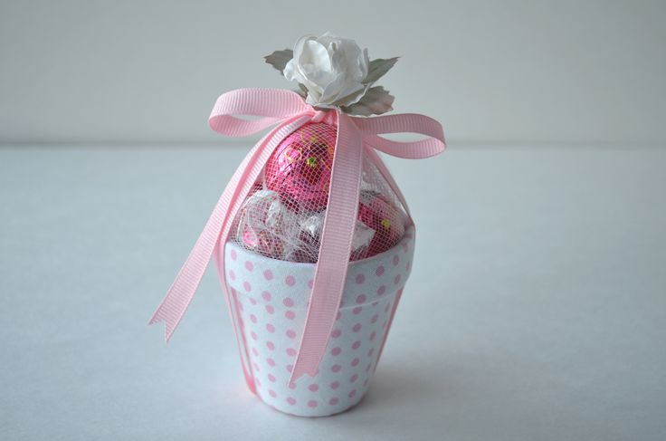 Baby Mini Pot lined with Polka dots fabric and filled with chocolate.
