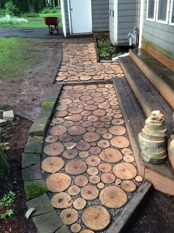 rodajas de madera premium cm caminos para jardn