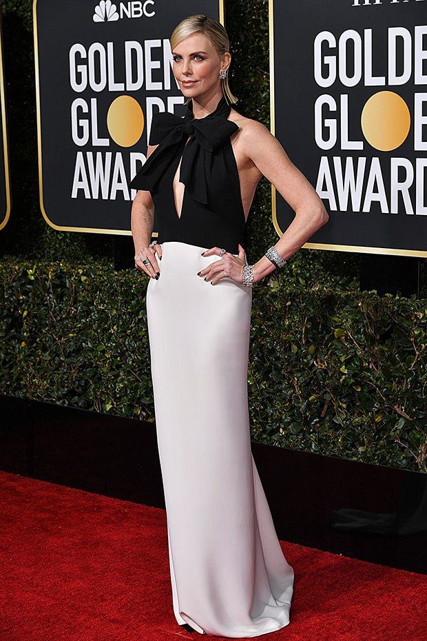 Charlize Theron Dazzles In Black And White Gown At 2019