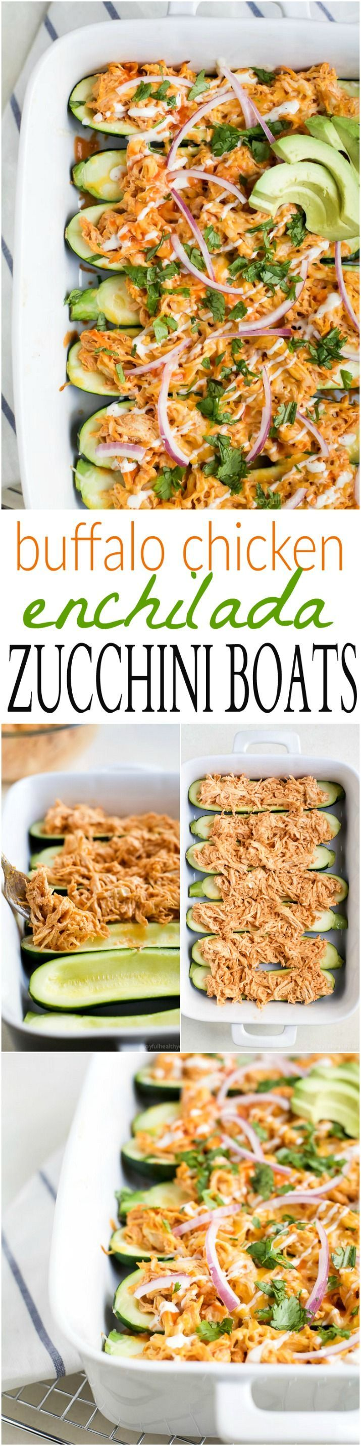Buffalo Chicken Enchilada Zucchini Boats - tender zucchini stuffed with a creamy Buffalo Chicken mixture then drizzled with ranch. The perfect healthy way to eat Buffalo Chicken Dip without all the carbs!   joyfulhealthyeats.com   gluten free recipes