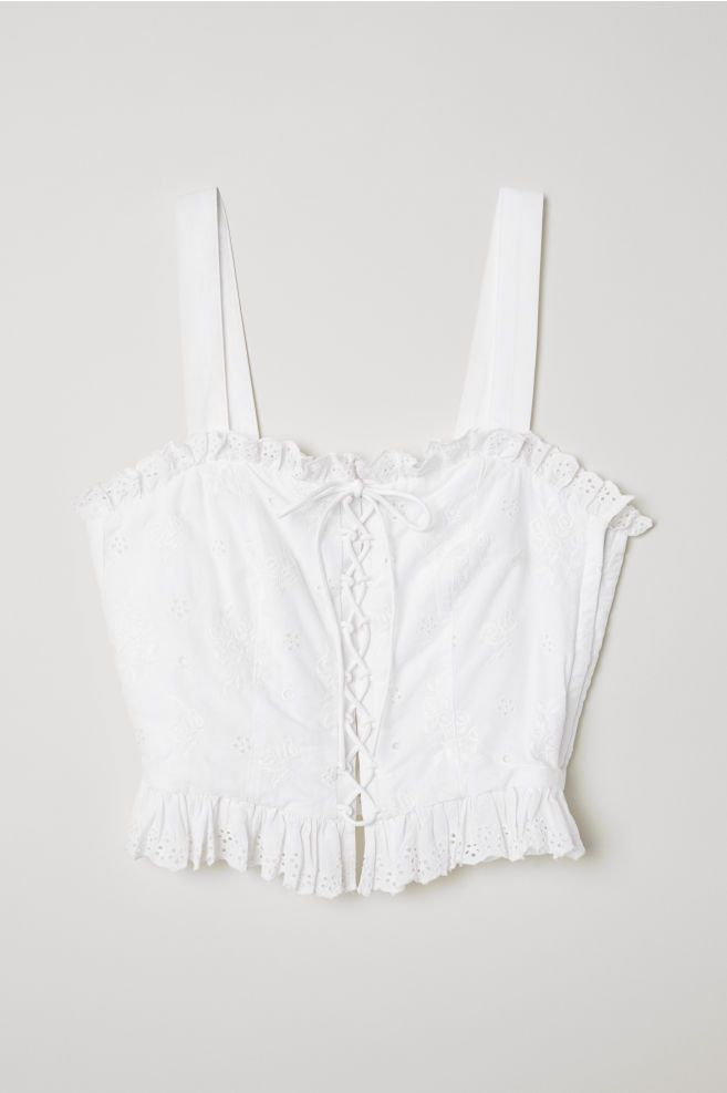 6b4a02560a3 H&M Top with Eyelet Embroidery - White in 2019 | Get in my closet ...