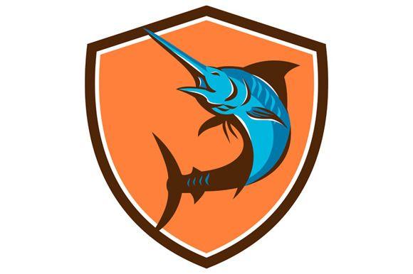 Blue Marlin Fish Jumping Shield Retr - Illustrations - 1