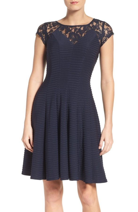 Lace Fit & Flare Dress  GABBY SKYE  $98.00Free shipping  The classic lace fit-and-flare is updated in banded pleats and a sharply modified sweetheart neck for a look that's detail oriented.    FitTrue to size.