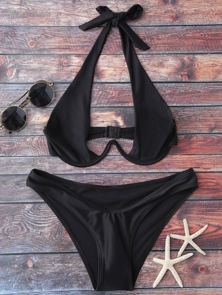 Halter High Cut Bikini Set - BLACK XL