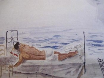 Man asleep by the sea, 1965 by Yannis Tsarouchis.